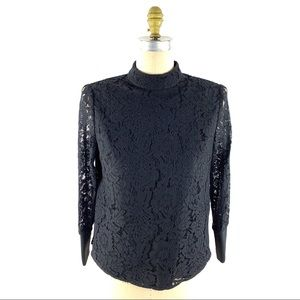 Ted Baker Dilly Lace High Neck Top Sheer Sleeves